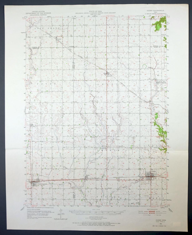 1951 Ogden Iowa Grand Junction Vintage 15 Minute Usgs Topo