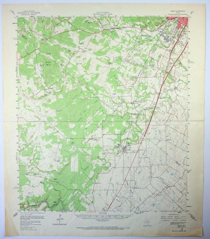 1958 Buda Texas Austin Sunset Valley Vintage Usgs Topo Topographic