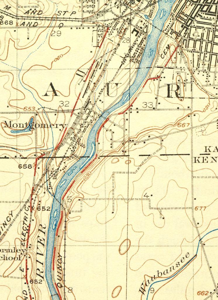 Yorkville Illinois Vintage Original 1925 USGS Topo Map Aurora Oswego ...