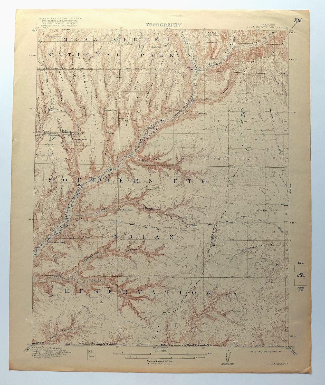 Soda Canyon Colorado USGS Topo Map 1915 Mesa Verde National Park ...