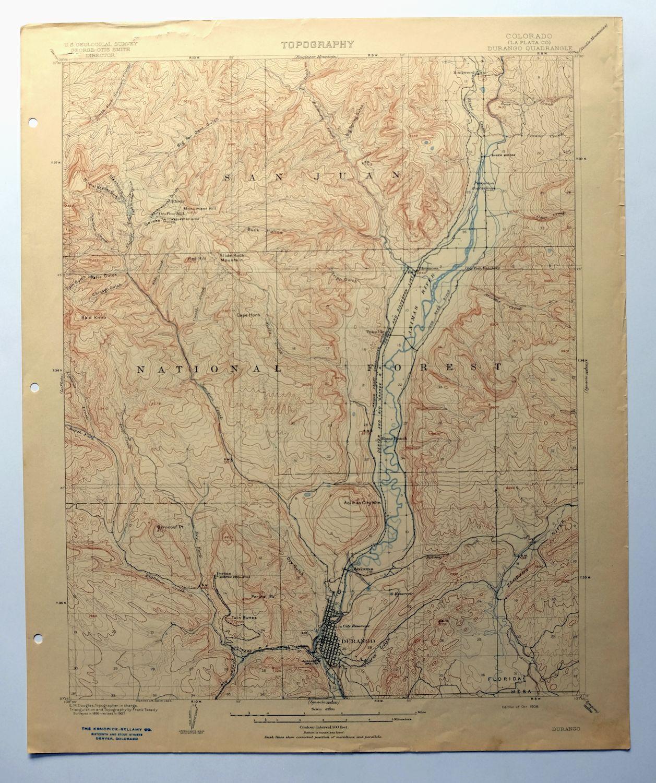 Durango Colorado Rare Antique 1908 Usgs Topo Map Hermosa