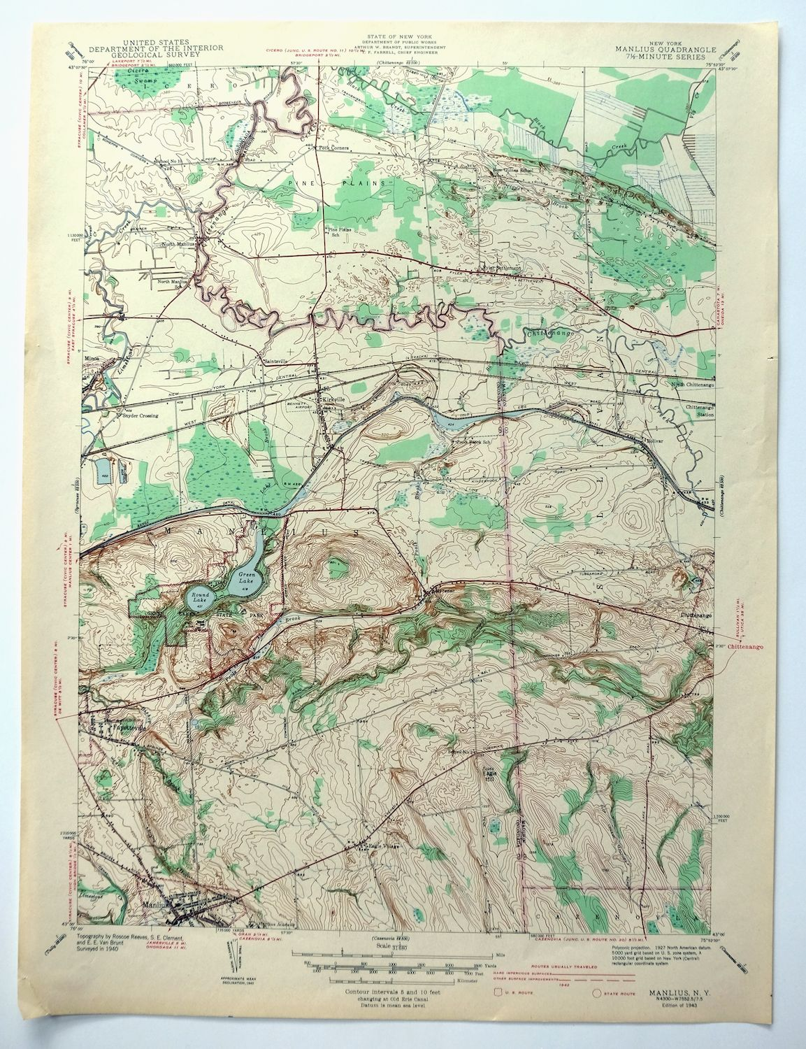 Details about Manlius New York Vintage 1943 USGS Topo Map Chittenango on