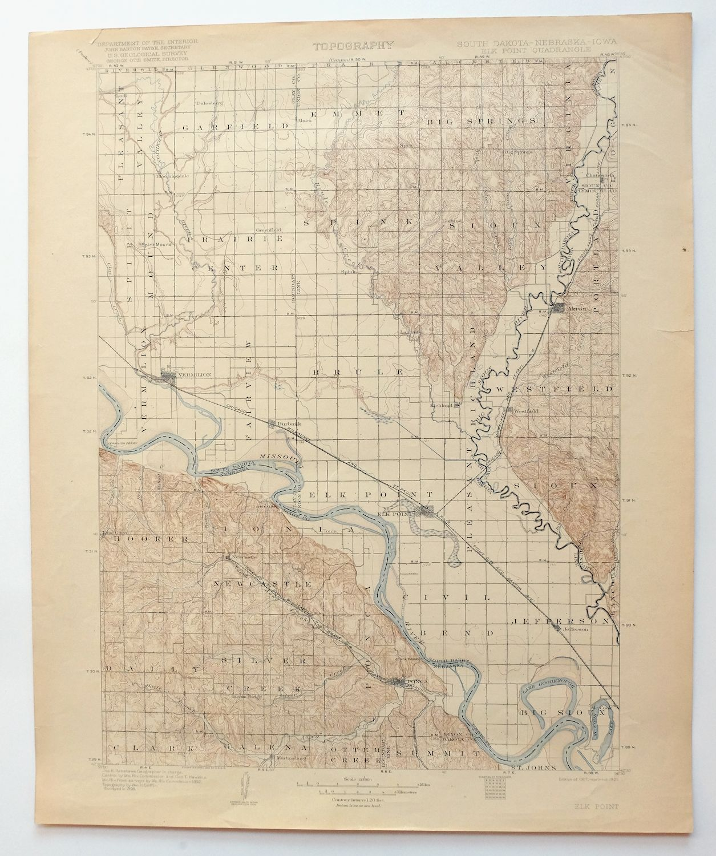 Elk Point South Dakota Iowa Vintage Usgs Topo Map 1907 Vermillion