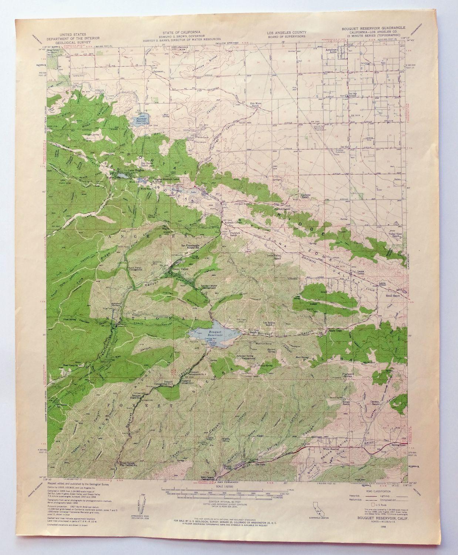 Bouquet Reservoir California Original Vintage Usgs Topo Map 1958