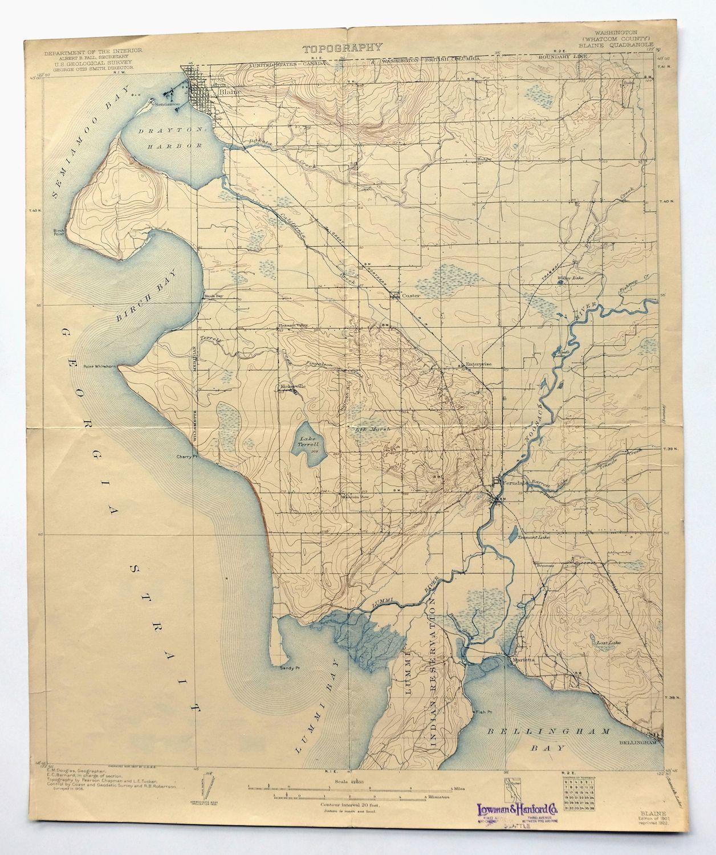 Blaine Washington Vintage USGS Topo Map 1907 Bellingham 15-minute ...