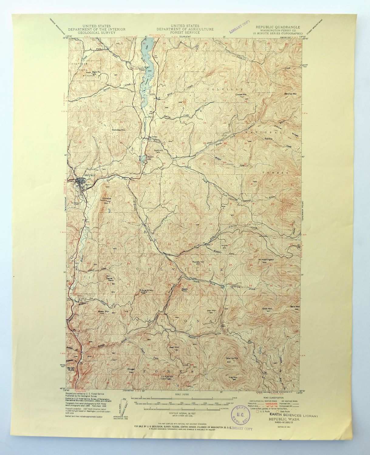 Topographic Map Usgs.Republic Washington Vintage 1951 Usgs Topo Map Curlew Lake