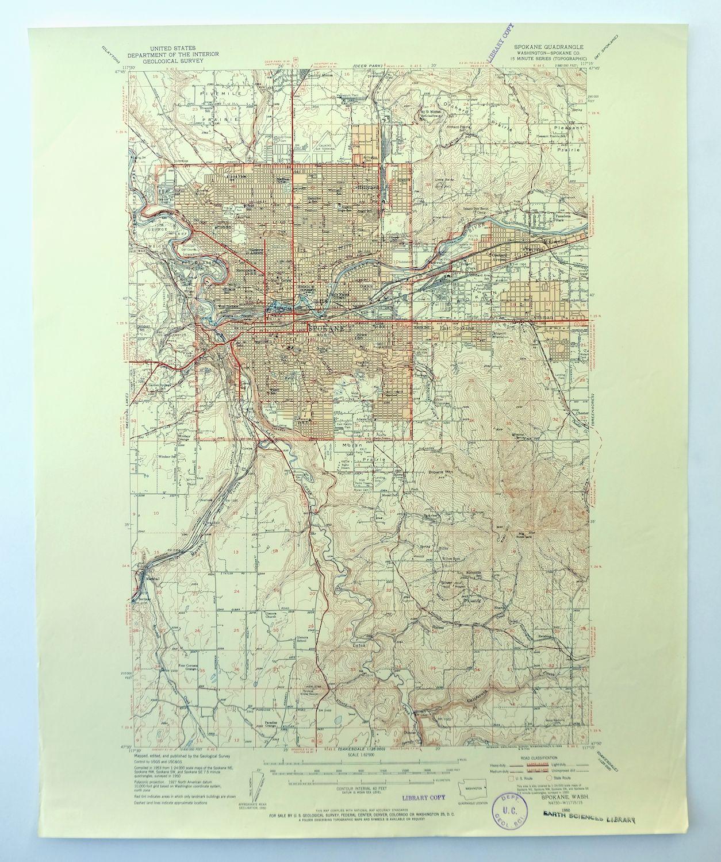 Details About Spokane Washington Vintage Usgs Topo Map 1950 Millwood 15 Minute Topographic