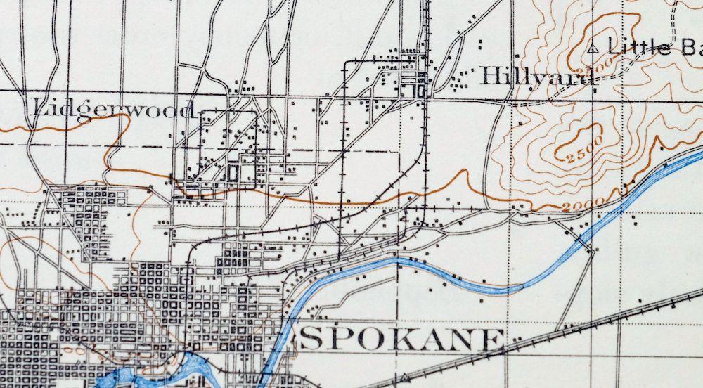 Spokane Elevation Map.Spokane Washington Idaho Vintage Usgs Topo Map 1901 Deer Park