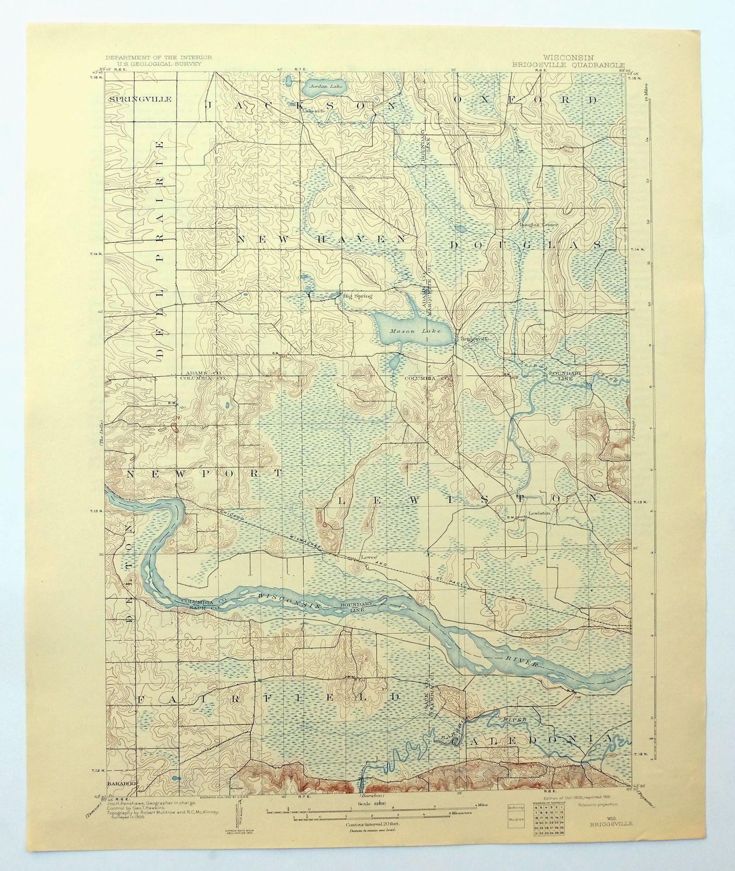 Briggsville Wisconsin Vintage Usgs Topographic Map 1902 Portage 15