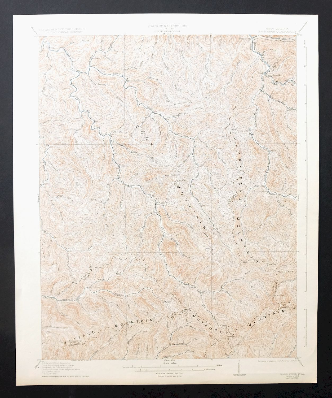 Picture of: Bald Knob West Virginia Vintage Usgs Topo Map 1912 Whitesville Mining Ebay