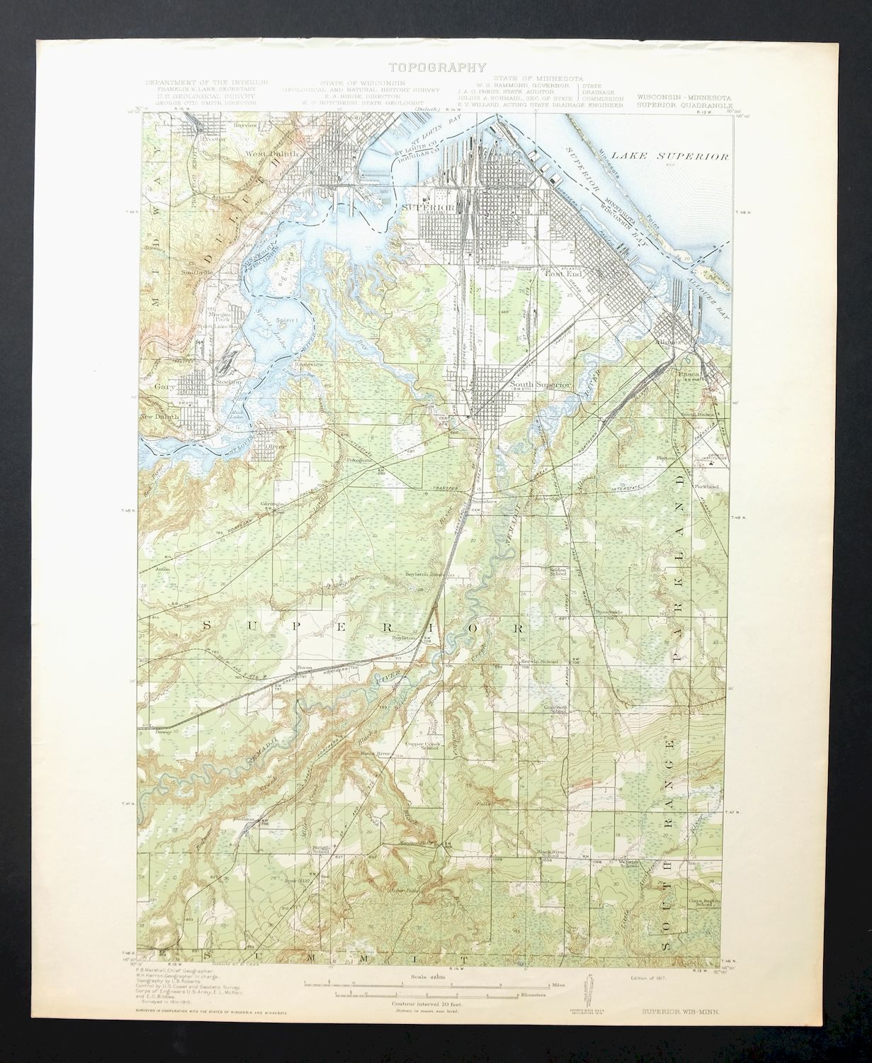 Details about Superior Wisconsin Minnesota Antique 1917 USGS Topo Map  Duluth Topographical