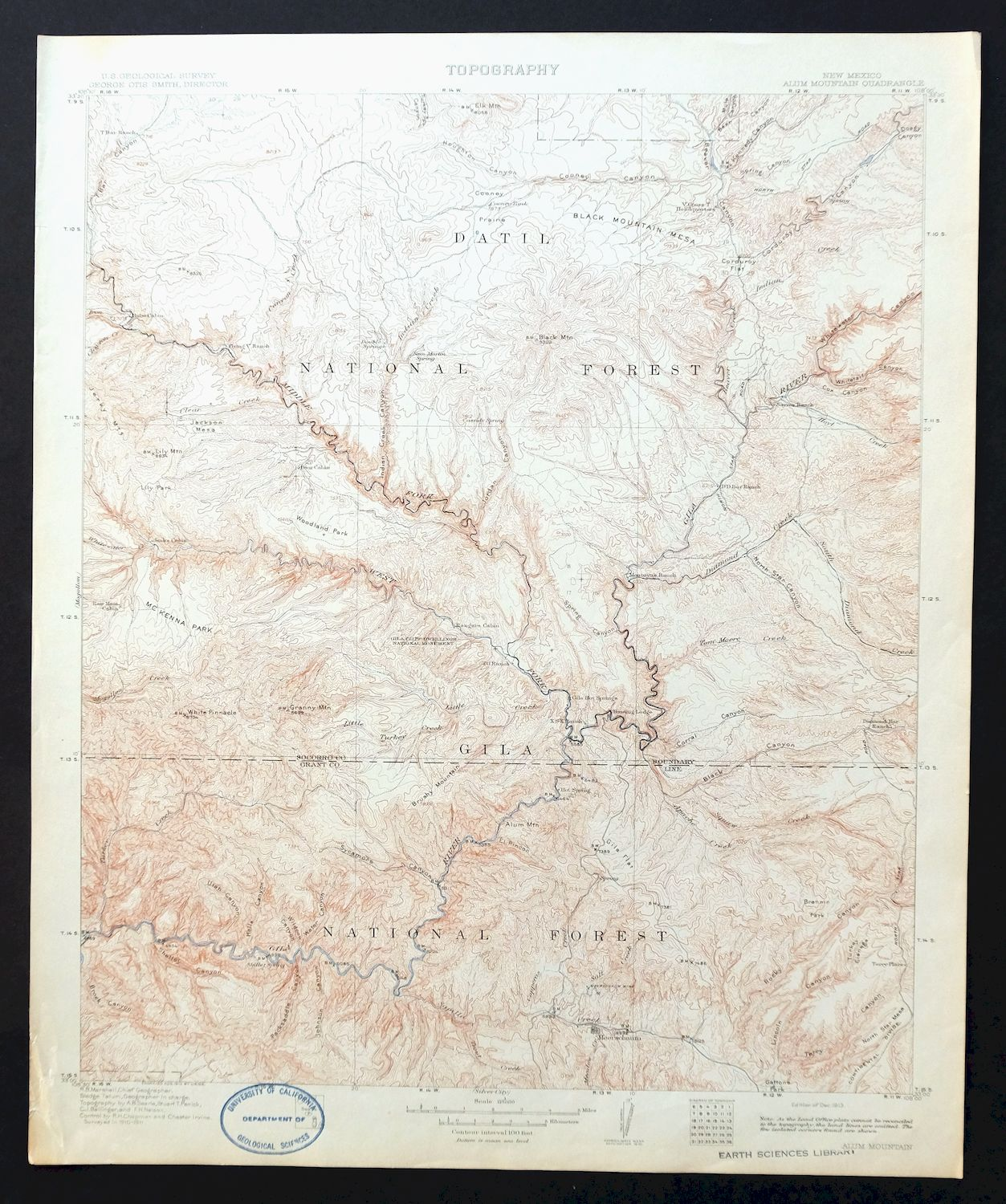 Details about Alum Mountain New Mexico Rare Antique 1913 USGS Topo Map Gila  Hot Springs