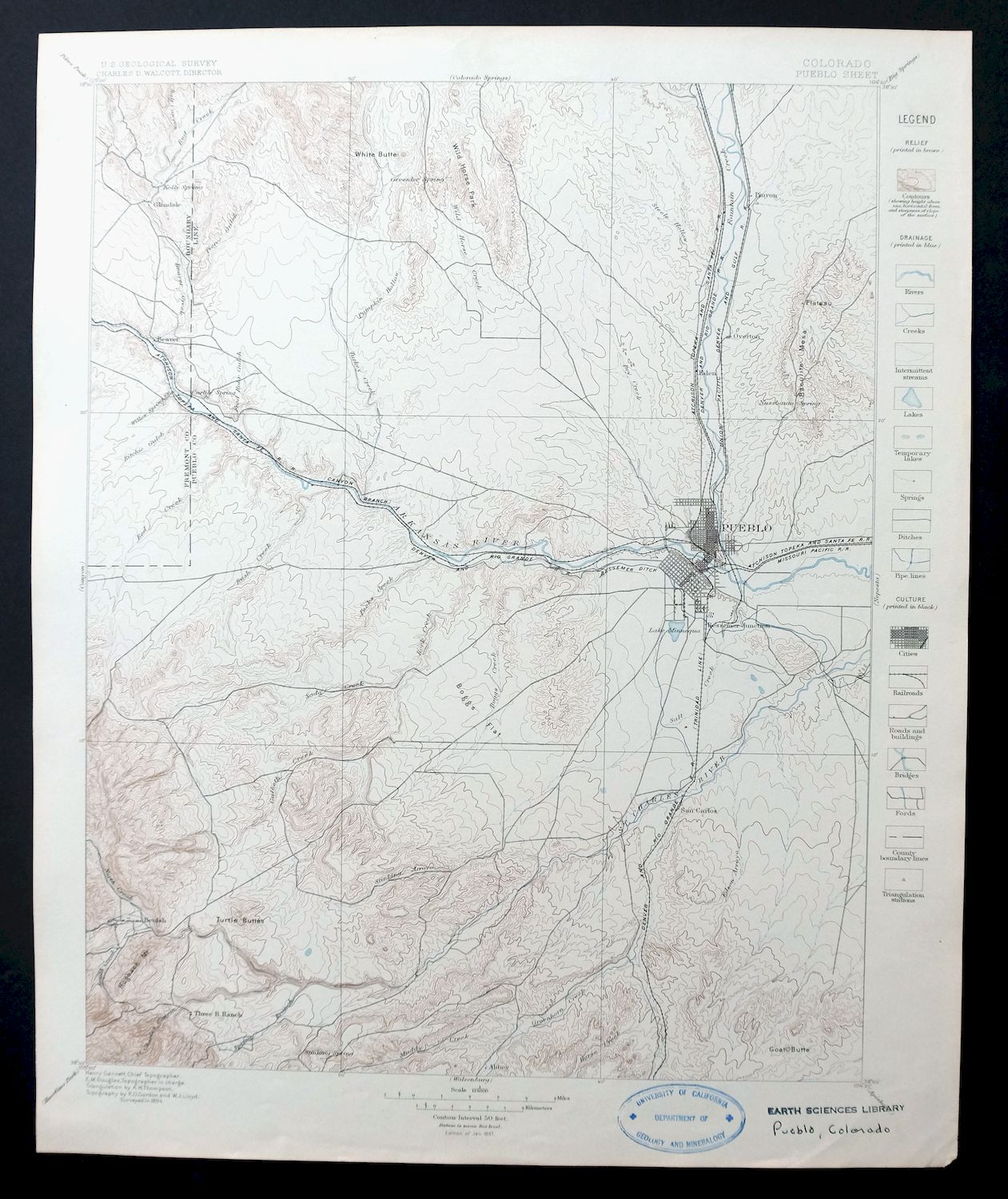 Pueblo Colorado Antique 1897 USGS Topo Map 30-minute ...
