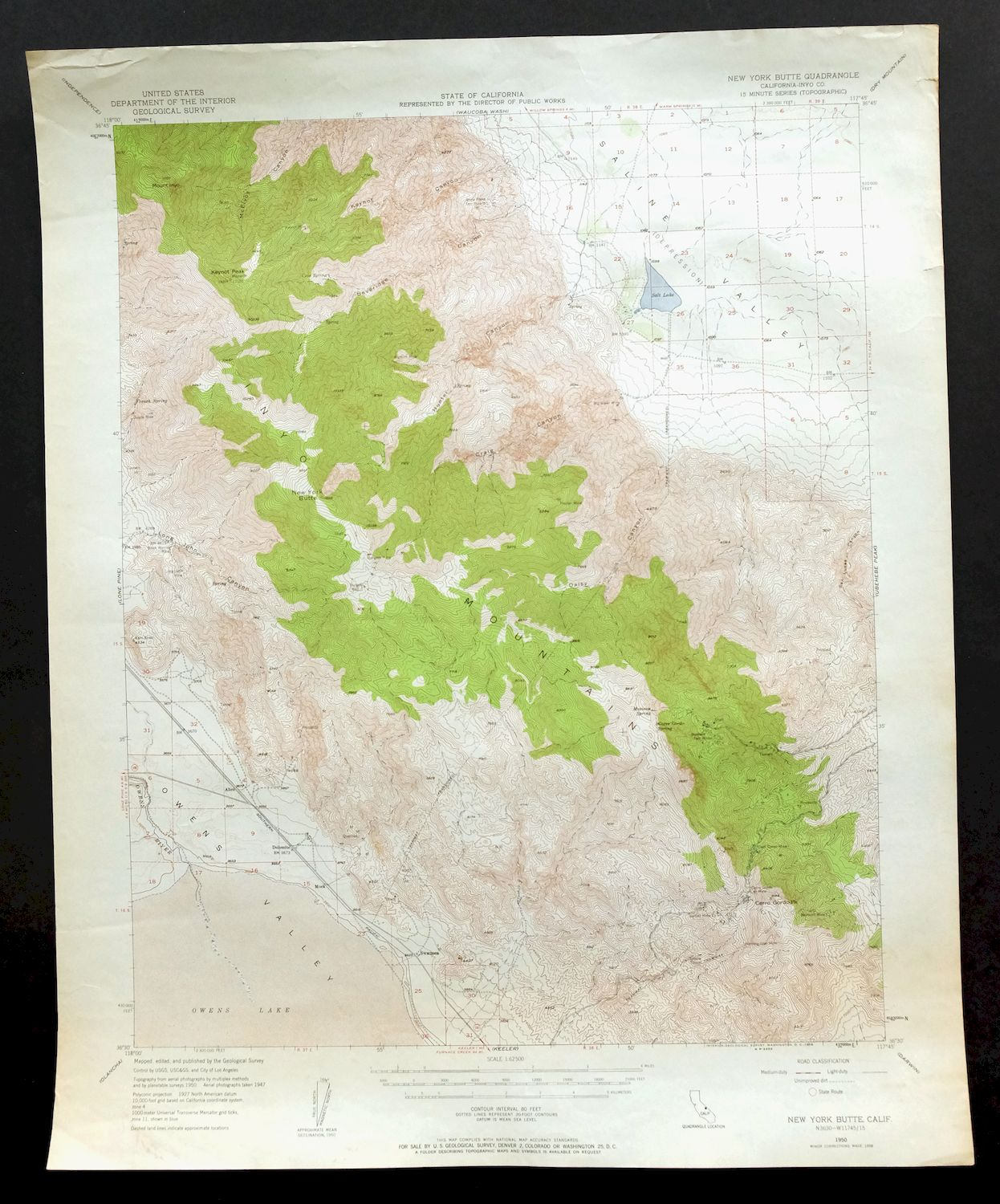 New York Butte California Vintage USGS Topo Map 1950 Inyo Mountains ...