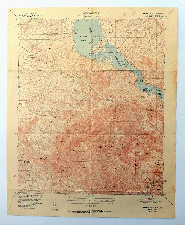 Topo Map Of Arizona.Whipple Mountains California Arizona Vintage 1952 Usgs Topo Map Lake