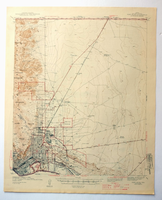 Fort Bliss Texas Vintage 1945 Usgs Topo Map El Paso 15 Minute