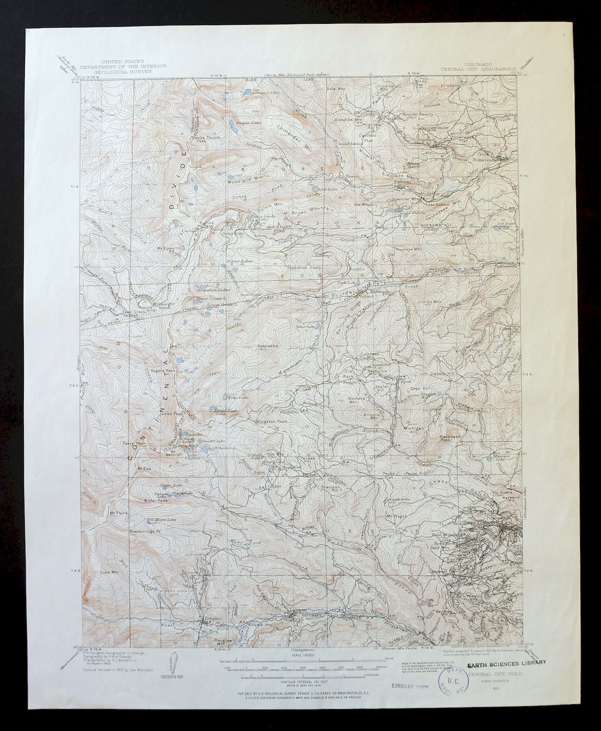 Central City Colorado Vintage Usgs Topographic Map 1910 Nederland 15
