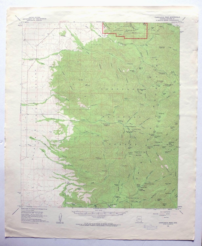Map Of Arizona Only.Chiricahua Peak Arizona Vintage Usgs Topo Map 1958 Turkey Creek