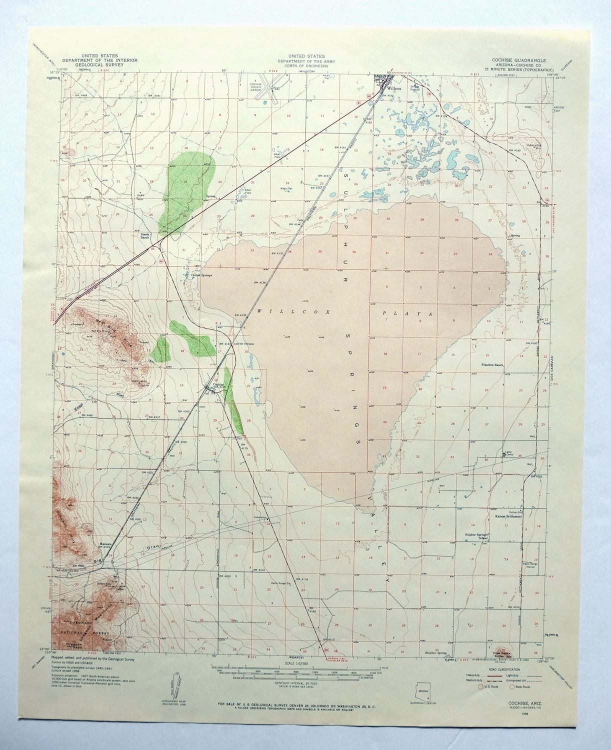 Topographic Map Arizona.Details About Cochise Arizona Vintage Usgs Topo Map 1958 Willcox Dragoon Mts Topographical