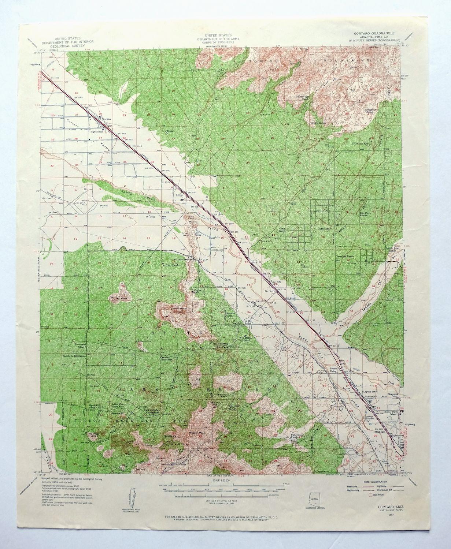 Topographic Map Arizona.Details About Cortaro Arizona Vintage Usgs Topographic Map 1957 Tucson Marana Saguaro Np