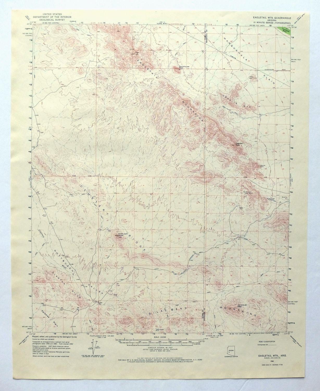 Topo Map Of Arizona.Details About Eagletail Mountains Arizona Vintage Usgs Topo Map 1962 Gila Bend Mountains