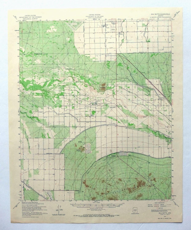 Topo Map Of Arizona.Gila Butte Arizona Vintage Usgs Topographic Map 1952 Chandler Sun