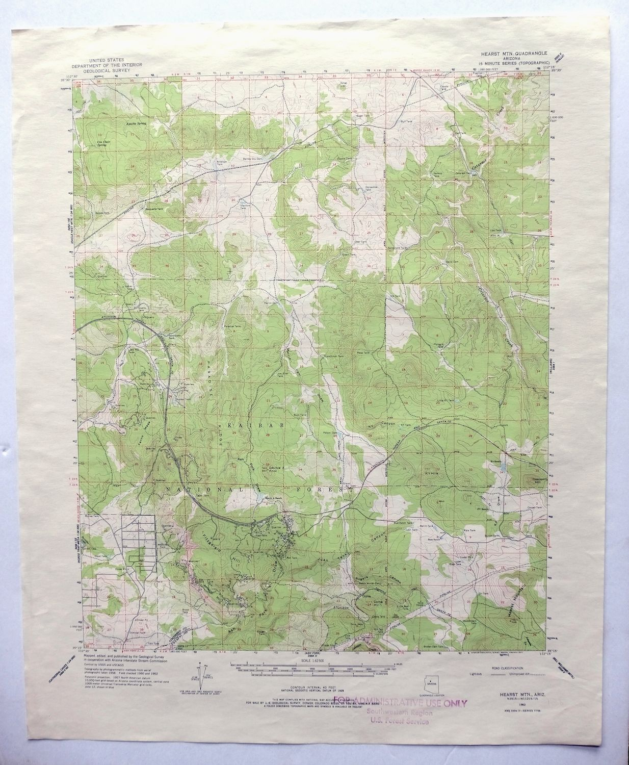 Details about Hearst Mountain Arizona Vintage USGS Topo Map 1962 Williams  Topographical