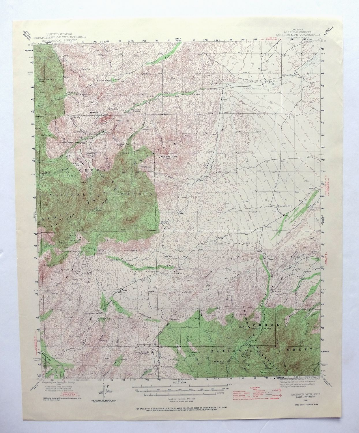 Jackson Mountain Arizona Vintage USGS Topo Map 1944 Santa Teresa ...