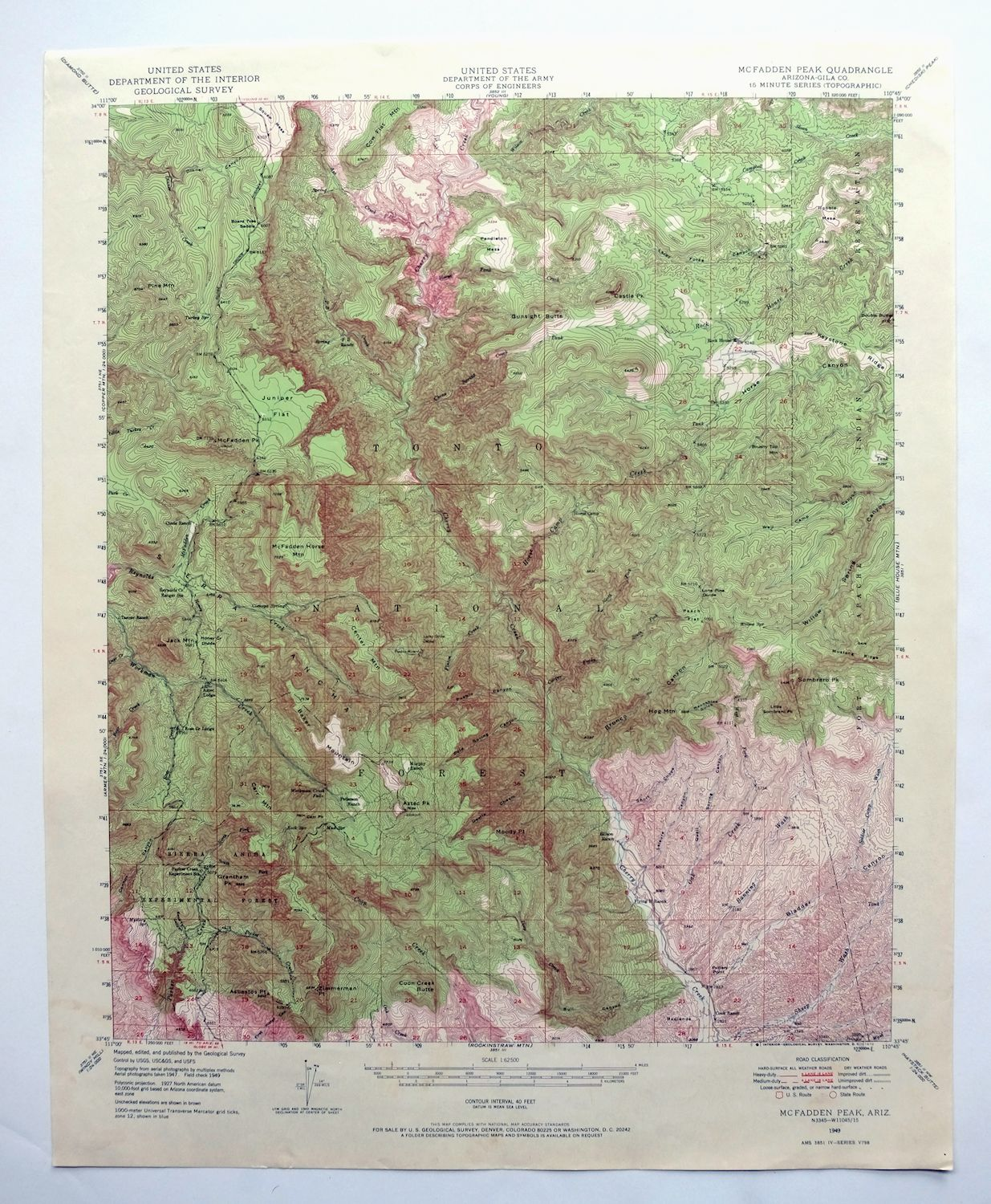 Map Of Arizona Only.Details About Mcfadden Peak Arizona Vintage Usgs Topographic Map 1949 Sierra Ancha Mountains
