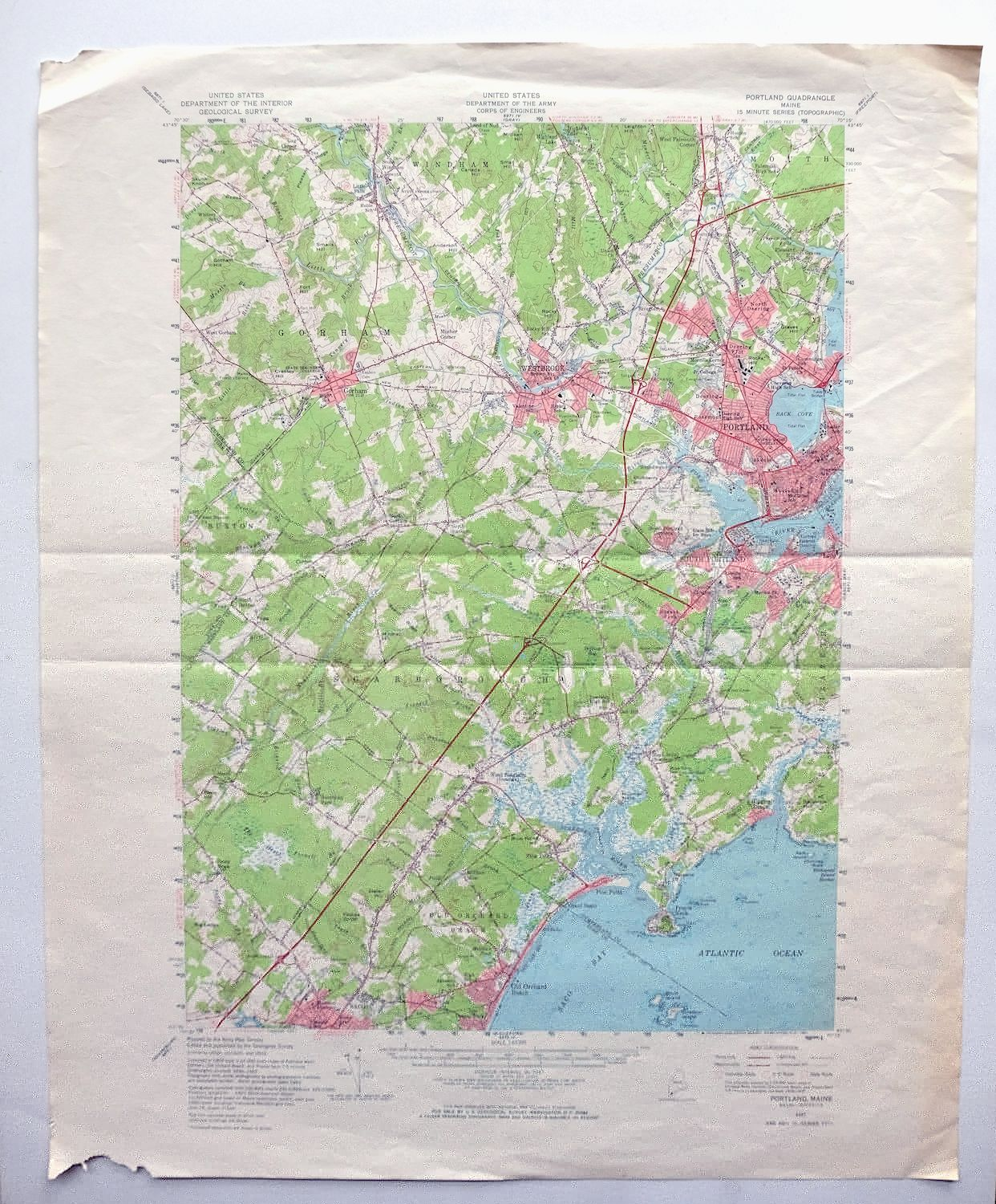 Details about Portland Maine Vintage USGS Army Corp of Engineers Topo Map  1957 Biddeford Saco