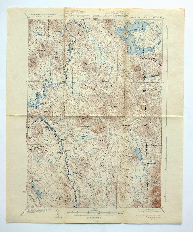 Milan New Hampshire Maine Vintage Original 1934 USGS Topographic Map ...