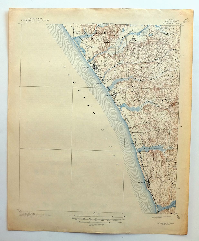 Details about Oceanside California Vintage USGS Topo Map 1901 Encinitas  Carlsbad Topographic