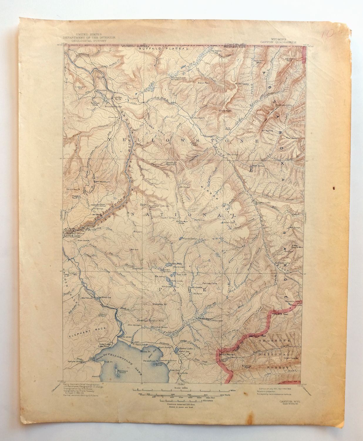 Yellowstone National Park Topographic Map.Canyon Wyoming Vintage Usgs Topographic Map 1911 Yellowstone