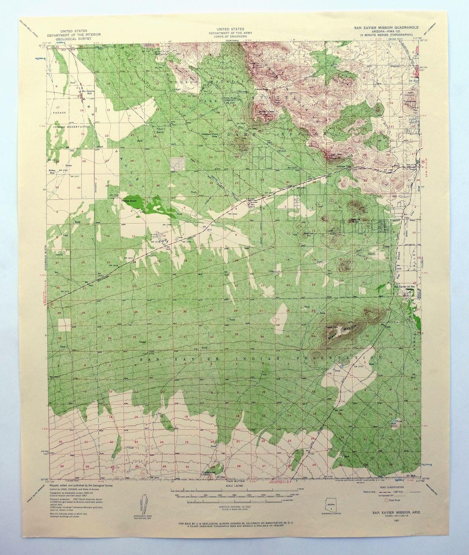 Topographical Map Of Arizona.Details About San Xavier Mission Arizona Vintage Usgs Topo Map Tucson Mountain Park 1957