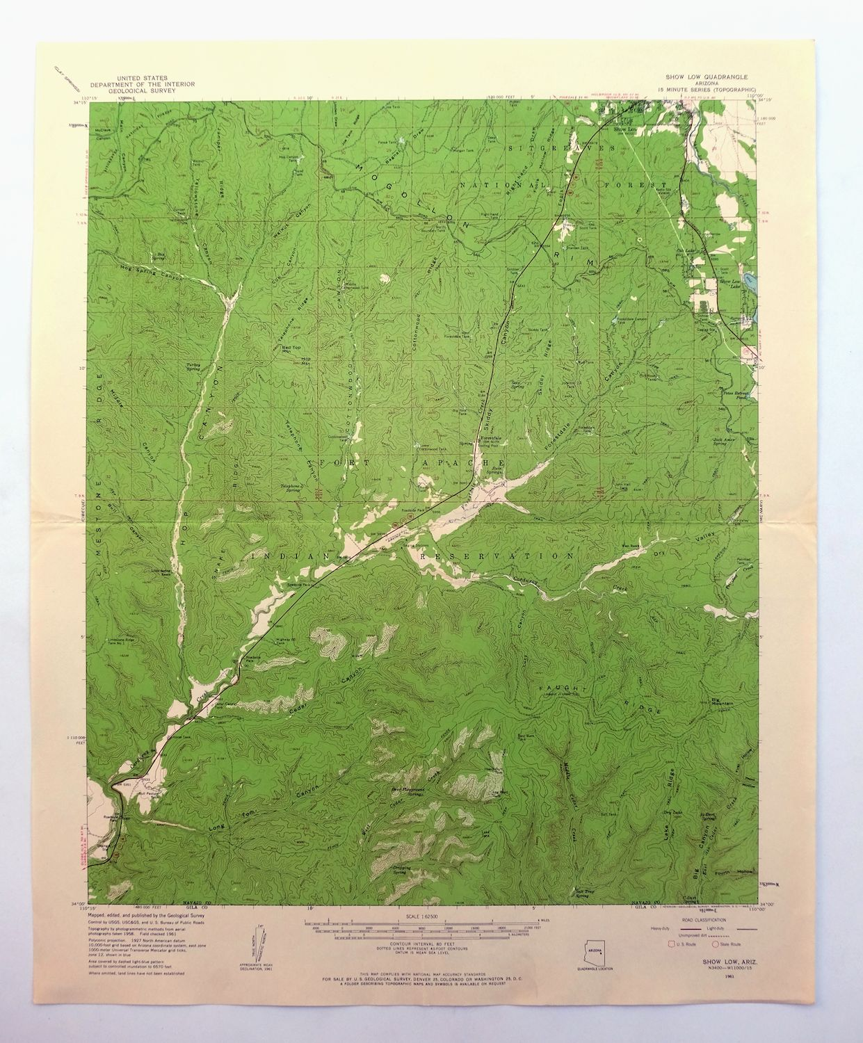 Topo Map Of Arizona.Details About Show Low Arizona Vintage Usgs Topographic Map 1961 Fort Apache Reservation Topo