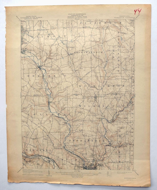 Neshannock Pennsylvania Vintage Usgs Topo Map 1907 New Castle Sharon