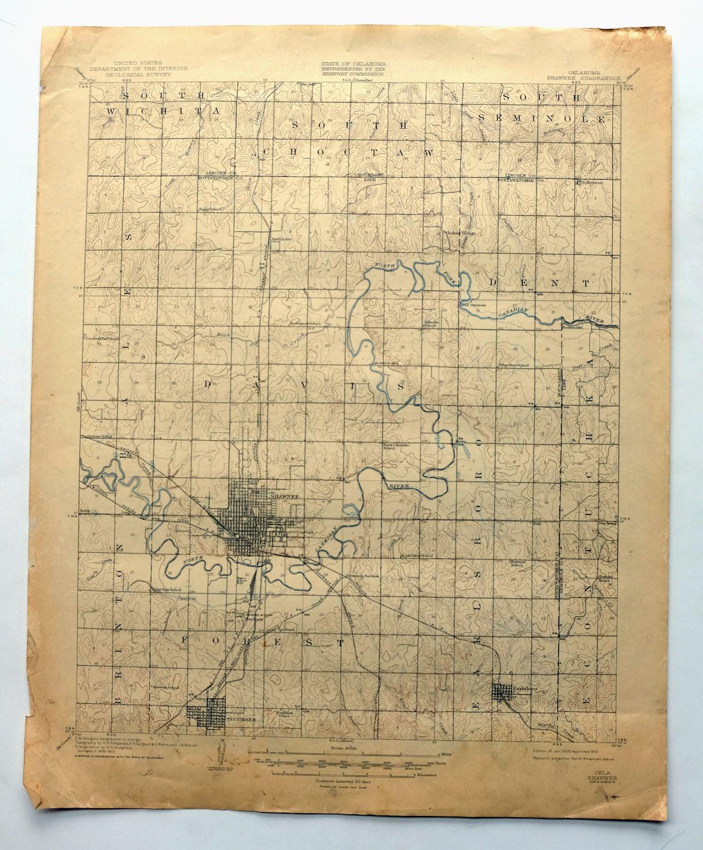 Shawnee Oklahoma Vintage USGS Topo Map 1909 Tecumseh 15-minute ...