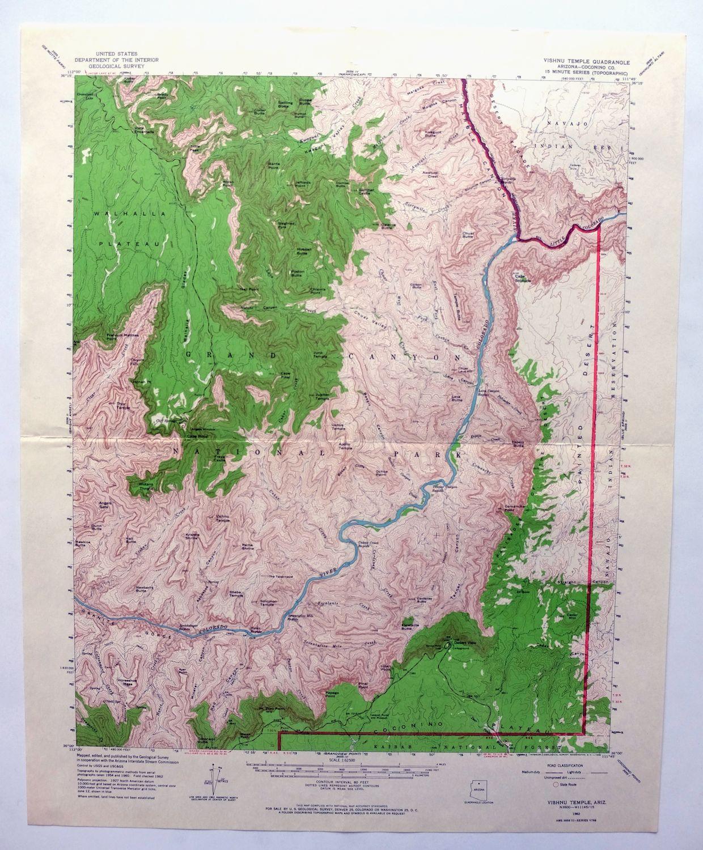 Details About Vishnu Temple Arizona Vintage Usgs Topo Map 1962 Grand Canyon National Park