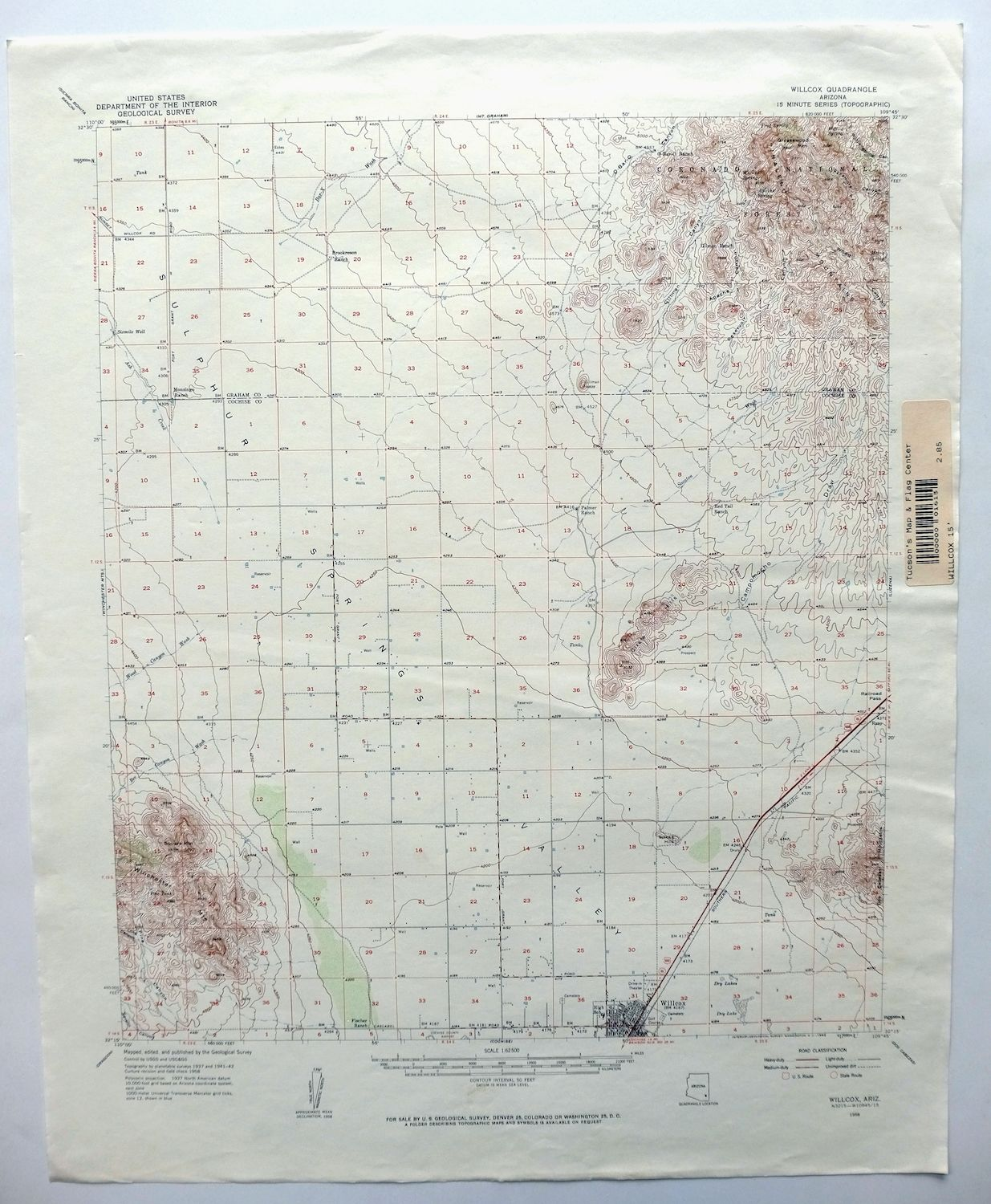 Details about Willcox Arizona Vintage USGS Topo Map 1958 Coronado NF  15-minute Topographical