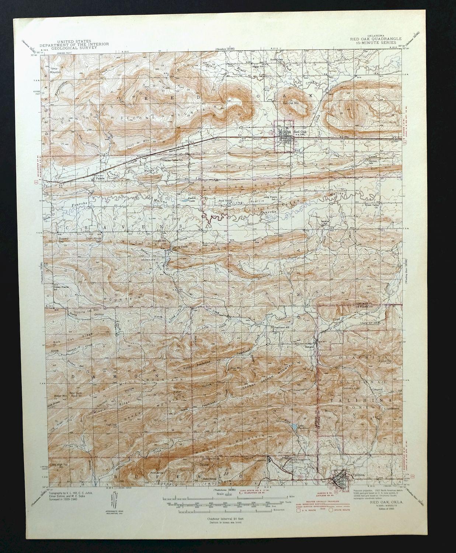 Talihina Oklahoma Map.1943 Red Oak Oklahoma Vintage Usgs Topo Mapa Talihina 15 Minutos