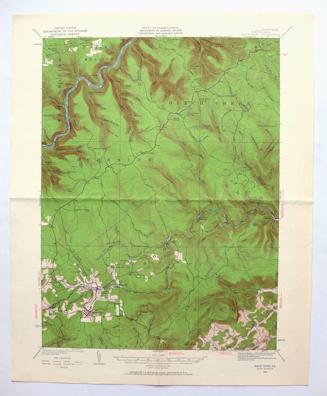 Topographic Map Washington Dc.Snow Shoe Pennsylvania Vintage Usgs Topographic Map 1928 Burns Run
