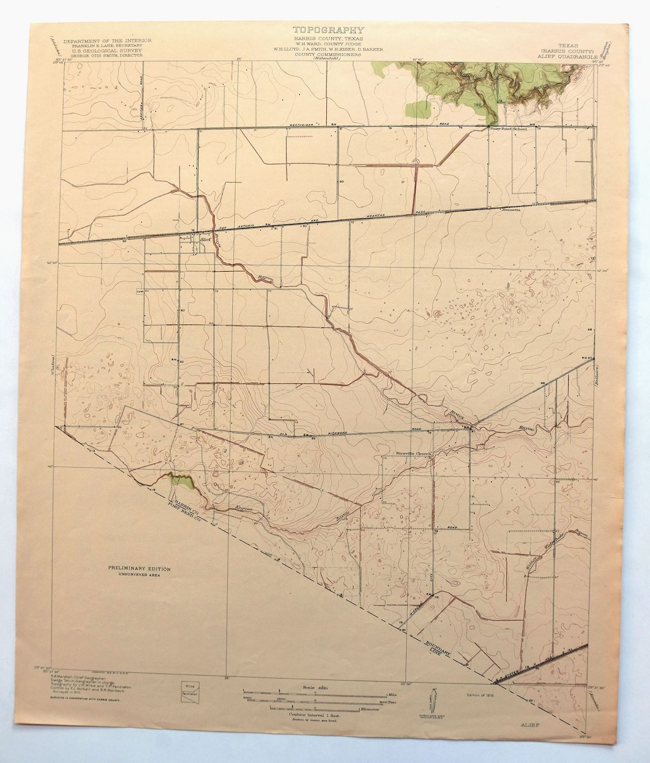 1919 Alief Texas Antique Original Usgs Topo Map Houston Sugarland