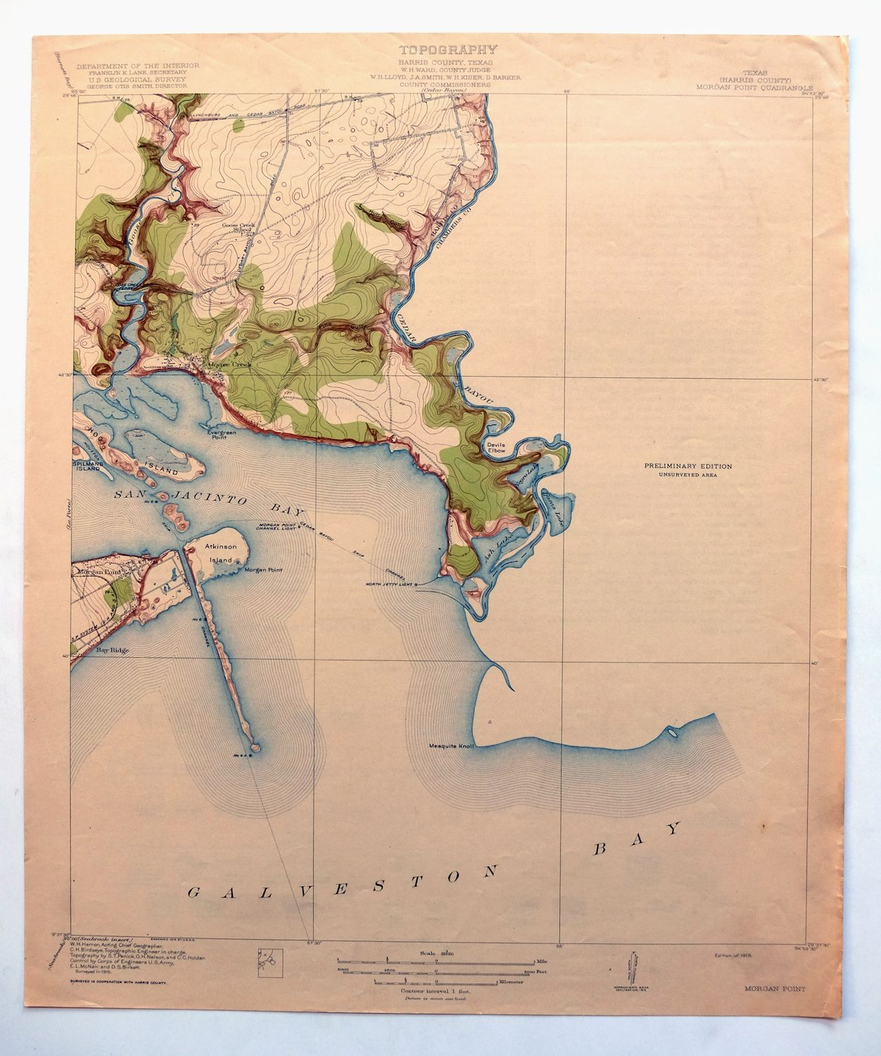 Topographic Map Usgs.1919 Morgan Point Texas Antique Usgs Topographic Map Baytown 7 5
