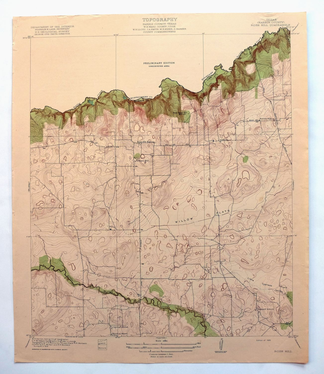 1920 Rose Hill Texas Vintage Usgs Topographic Map Tomball Cypress