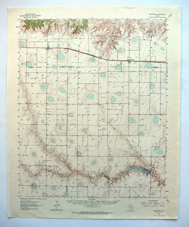 Map Of Texas Amarillo.Wildorado Texas Vintage Usgs Topo Map 1962 West Of Amarillo