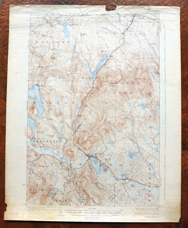 1926 Brighton Island Pond Vermont Vintage Original Usgs Topo Map