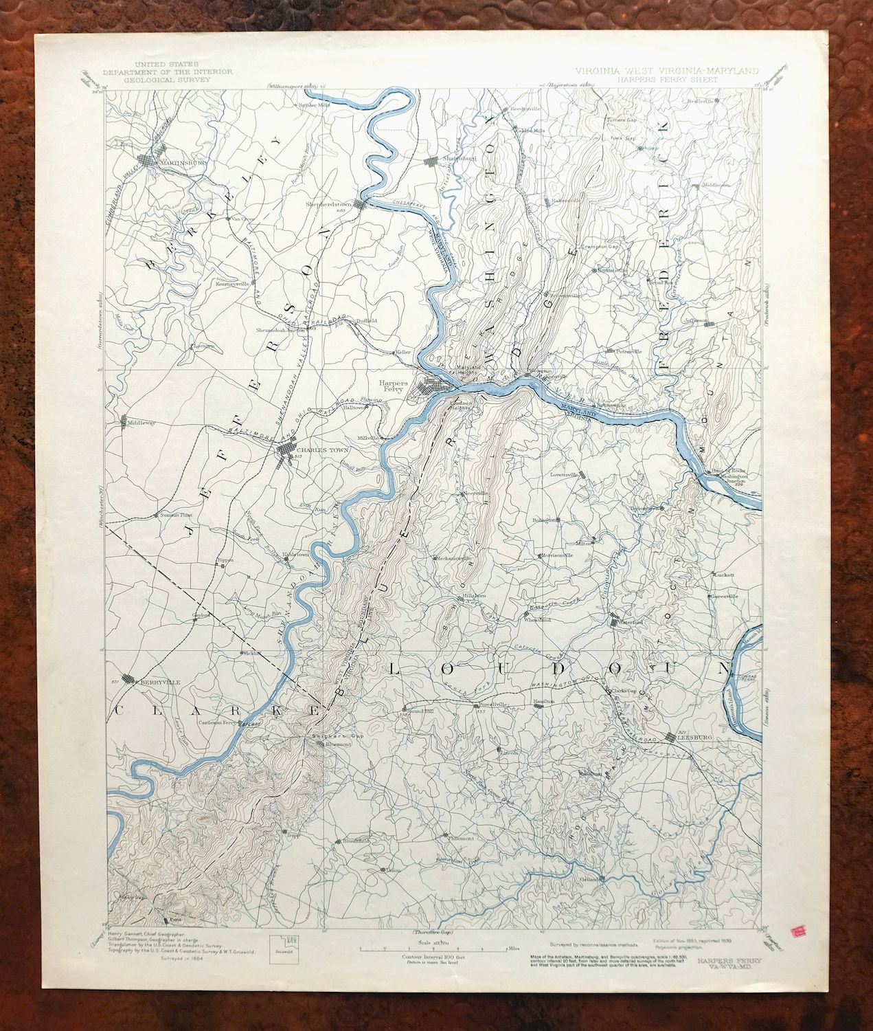 Harpers Ferry Virginia Maryland Vintage Usgs Topo Map 1893 Leesburg