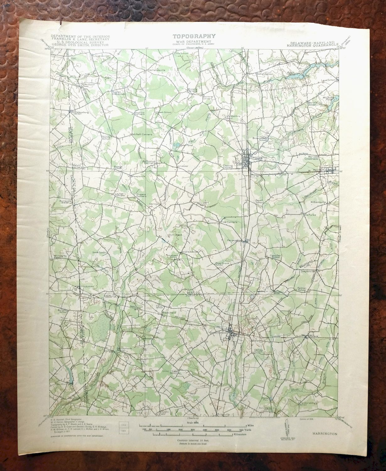 Details about 1918 Harrington Delaware Maryland Antique USGS Topographic  Map Greenwood Topo