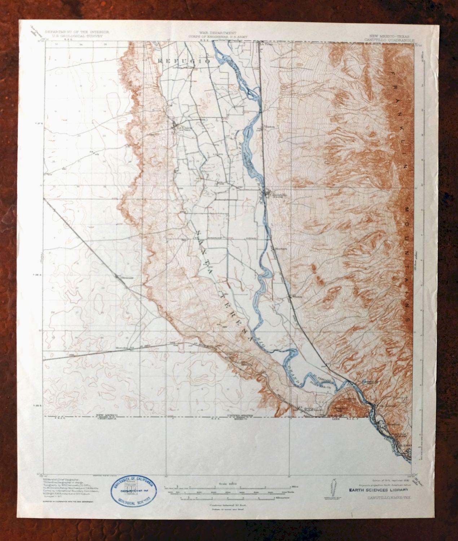 Canutillo New Mexico Texas Vintage USGS Topo Map 1919 El Paso ...