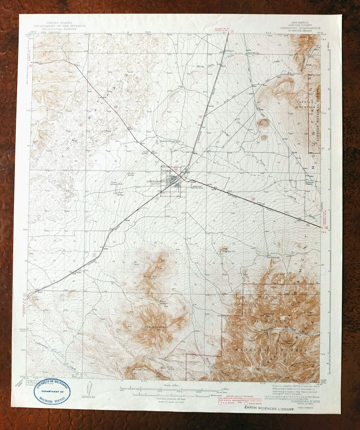 Details about 1943 Carrizozo New Mexico Vintage USGS Topographic Map  Sacramento Mountains